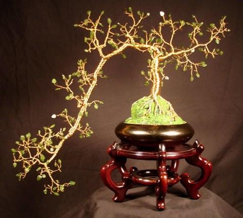 Jade Cascade No. 1 - Wire Tree Sculpture
