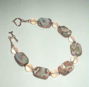 abalone rose quartz bracelet