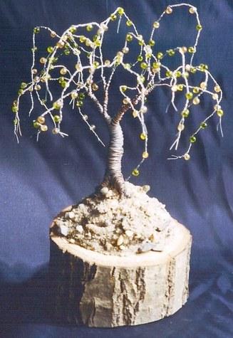 Oak on Oak - Wire Tree Sculpture