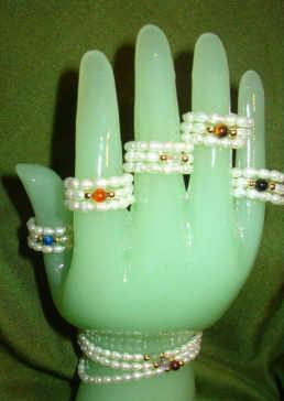 Pearls and Gemstones Ring Bracelet