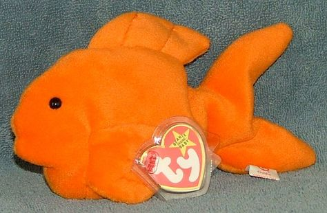 Ty beanie baby goldie the gold fish 1993 retired free for Fish beanie baby
