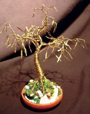 Golden Maple, wire tree sculpture