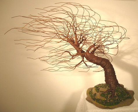 Mighty Wind Swept, wire tree sculpture