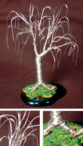 Oak, wire tree sculpture