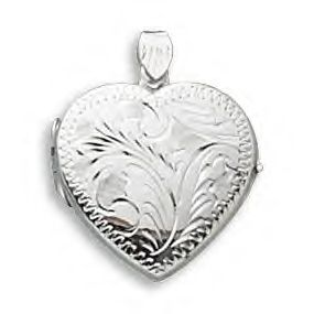 Etched Heart Locket In Genuine .925 Silver!