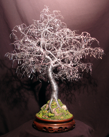 Bonsai with Hammered Leaves, wire tree sculpture - by Sal Villano