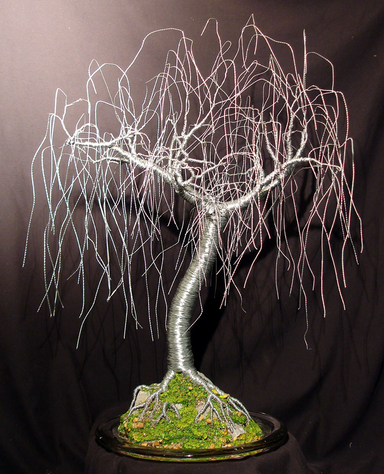 Gentle Willow, wire tree sculpture - by Sal Villano
