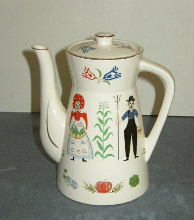 Item #1 Folk Art - Penn Dutch Teapot with Lid