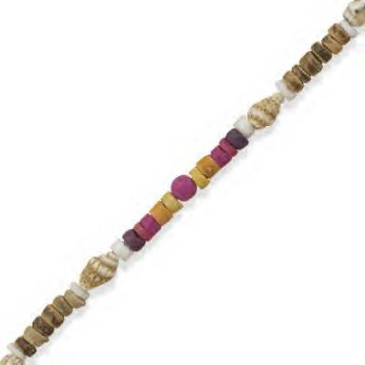 Colorful Wood Beads and White Clam Shell Beads!