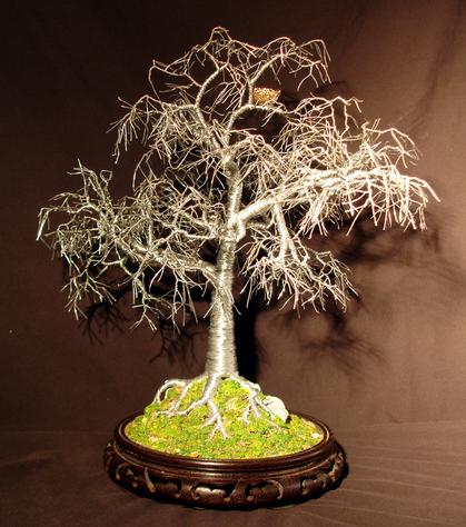 Winter Bird Nest - Wire Tree Sculpture, by Sal Villano