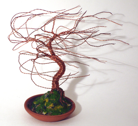Terra Cotta Wind Swept - Wire Tree Sculpture