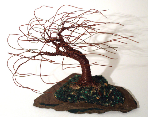 Slared Wind Swept - Wire Tree Sculpture