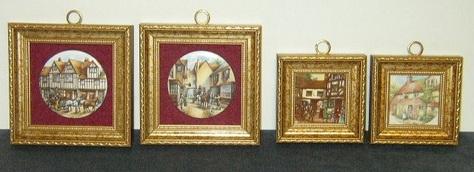 Set of 4 - Miniature, Framed Art-Works