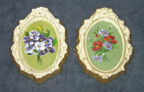 Vintage, Hand-Painted, Chalkware Plaques