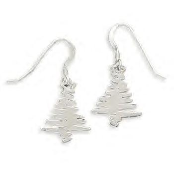 .925 Silver ZiG Zag Christmas Tree Earrings!