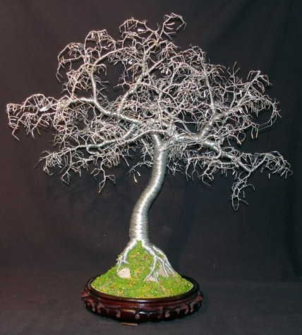 HAMMERED LEAVES BONSAI - Wire Tree Sculpture