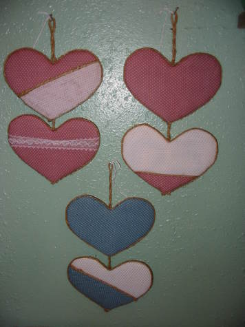 2-Heart Mauve or Blue Wall Hangings