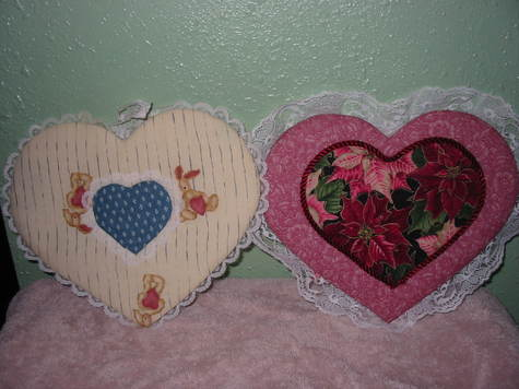 Large Heart Bunnies and Poinsettias