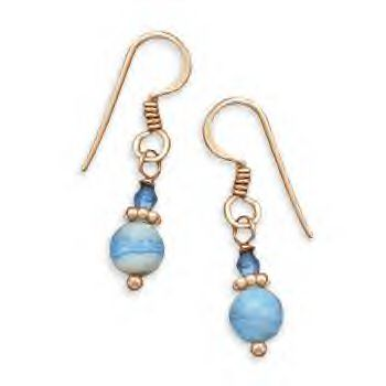 Copper Earrings With A Crazy Blue Lace Agate!