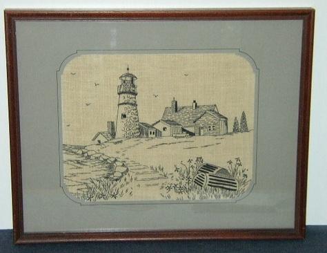 Black Thread Lighthouse Artwork