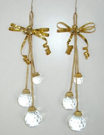 Gold Ribbon & Crystal Ball Ornaments