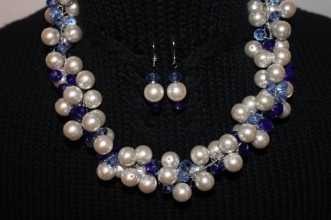 white pearl blue crystal