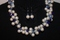 Handcrafted White/Blue Glass Beads Necklace Set