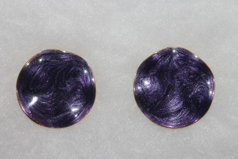 Vintage-Avon-Purple-Swirl-Ename- Goldtone-Pierced-Earrings
