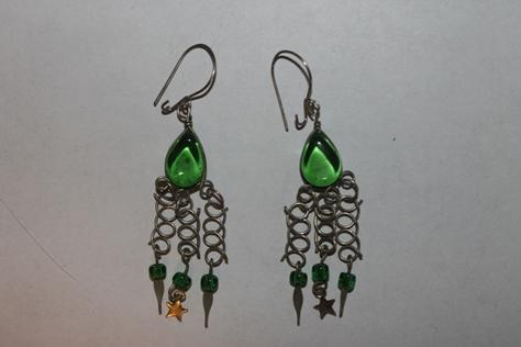 Sterling-Silver-Glass-Beads-green-Earrings