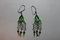 Sterling Silver Glass Beads Green Earrings