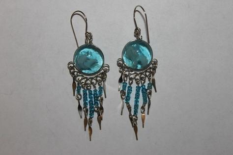 Sterling-Silver-ltblue-Glass-Beads-Earrings