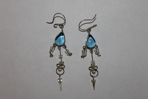 Sterling-Silver-blue-Glass-Beads-Earrings
