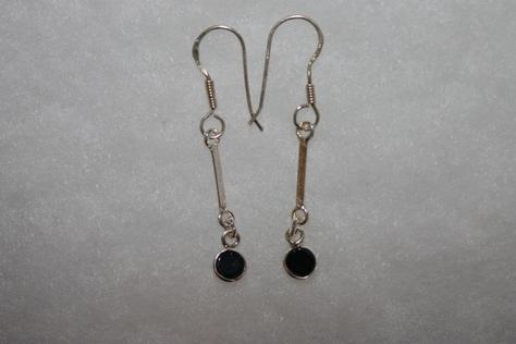 Sterling-Silver-black-Glass-Beads- Earrings