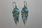 Sterling Silver Blue Glass Beads Earrings