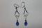 Sterling Silver Blue Glass Beads Earrings