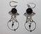 Sterling Silver Black Glass Beads Earrings