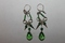 Sterling Silver Green Glass Beads Earrings