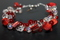Handcrafted Red Glass/Clear Crystal Beads Bracelet