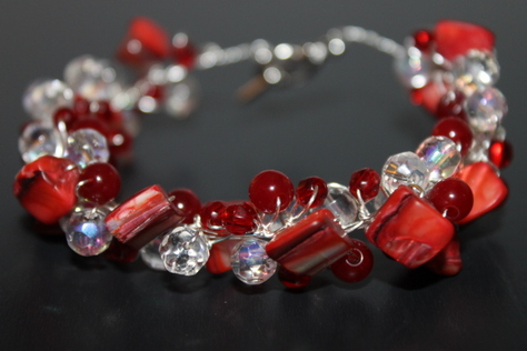 handcrated-red-glass-clear-crystal-beads-nontarnish-silver-wire