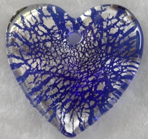 Murano-glass-Silver-Rain-Blue-Heart-Pendant