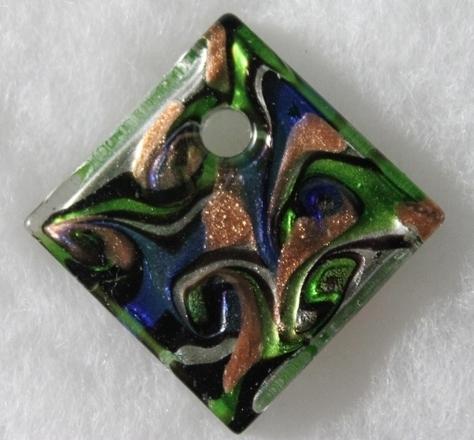 Murano-swirl-diamond-Blue-green-gold-silver-Glass-Pendant