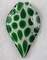 Murano Glass Black, White & Green Large Pointed Leaf Pendant