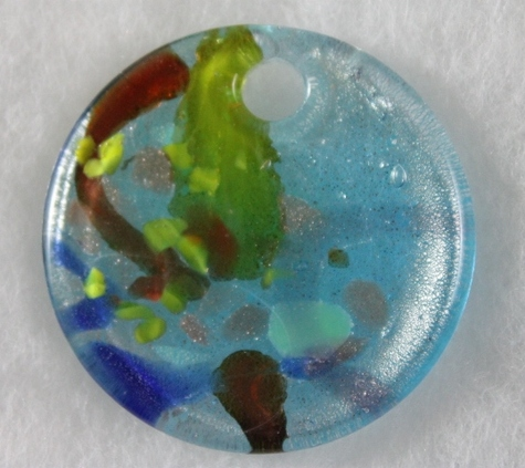 Murano,round,flat,Pendant,Blue,,aqua,amber,green,Glass,Pendant