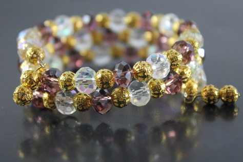 handcrafted-purple-clear-glass-beads-goldtone-beads-memory-wire