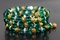 Handcrafted Green Glass & Goldtone Beads Memory Wire Bracelet