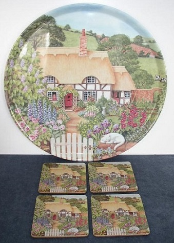 Item #1 - Cottage, Garden & Cat-Tray & Coasters