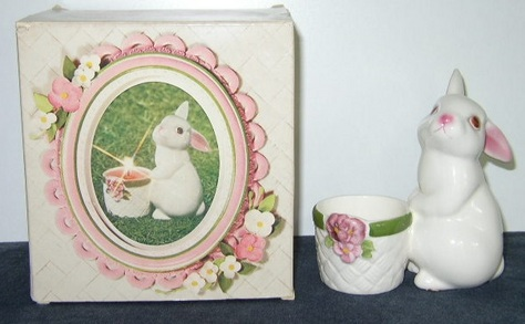 Vintage, Avon Bunny Bright Candle Holder & Box