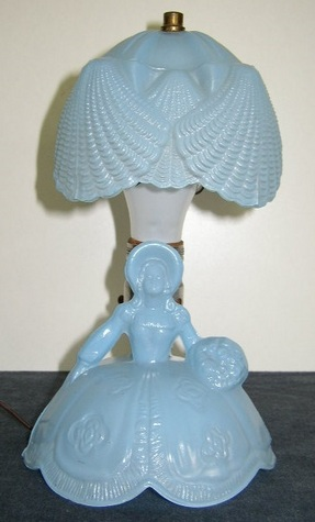 Antique, Blue, Glass, Colonial Lady Lamp