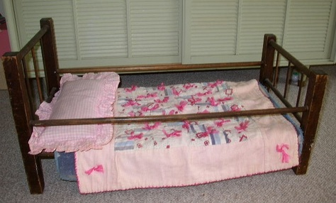 1961 Hand-Made Doll Bed & Bedding