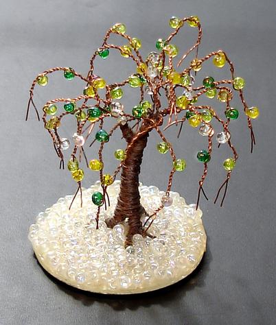 Glass Oak Mini Wire Tree Sculpture